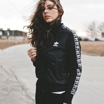 Adidas Women Fashion Embroidery Print Cardigan Jacket Coat
