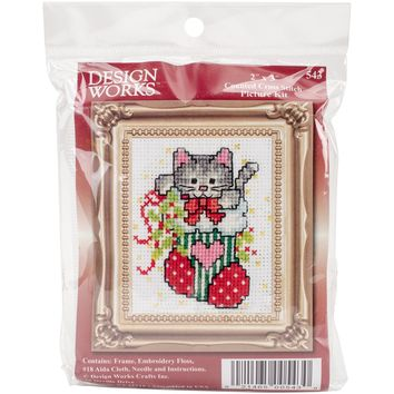 "Stocking Cat W/Frame Mini Counted Cross Stitch Kit-2""X3"" 18 Count"