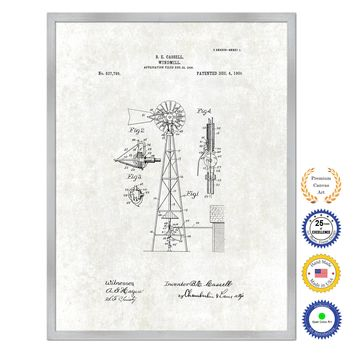 1906 Farming Windmill Antique Patent Artwork Silver Framed Canvas Print Home Office Decor Great for Farmer Milk Lover Cattle Rancher