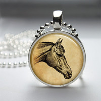 Round Glass Pendant Bezel Pendant Horse Pendant Horse Necklace Photo Pendant Art Pendant With Silver Ball Chain (A3886)