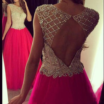 Long Beaded Sexy Light Red Open Back Backless Prom Dress Ball Gown Red Formal Evening Dresses Sexy Tulle Gown for Graduation