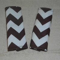 Brown zig zag Chevron/Baby Pram Strap/Car Seat Belt Covers