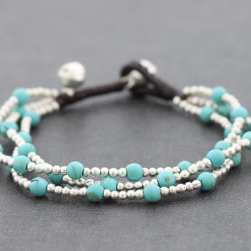 Turquoise Round Silver 3 Strand Bracelet