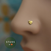 NOSE STUD /Little Heart/ 4mm/ 24K Gold plated/ Sterling Silver/ Tragus Ear/ Cartilage Earrings/ Nose ring/ Hoop nose/ Helix