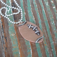 Personalize Football Tag Necklace // Athletic Men's Jewelry // Sports Team Pendant // Football Keychain // Handmade by Korey Burns