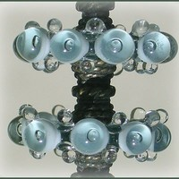 Lampwork  Beads, Handmade Green Gray Glass Beads, Lampwork Disc Glass Bubble Beads Set (6)