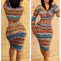 Tribal Print Long Sleeve Cropped Top and Bodycon Midi Skirt