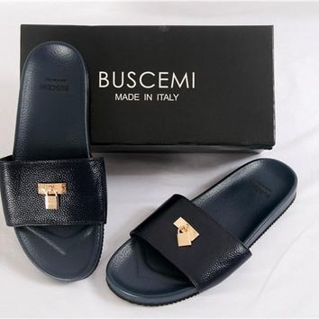 hcxx Buscemi Leather black Strap Flip Flop Slides