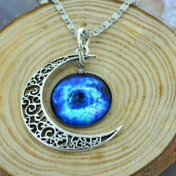 Moon Galaxy Nebula Space Antique Silver Pendant Necklace Friendship BFF Necklace = 1697437828