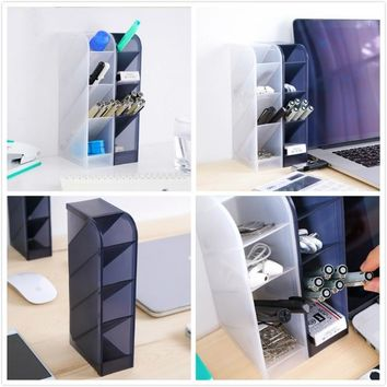 4 Compartment Desktop Storage Box Pen Organizer Cosmetic Makeup Holder Office Supplies