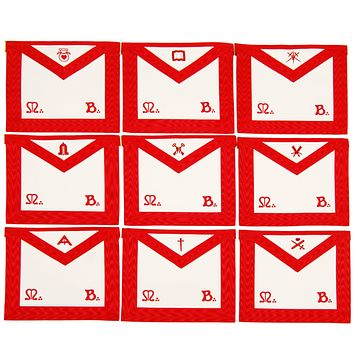 Masonic Scottish Rite Officers Apron (REAA) Red Embroidery