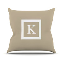 "KESS Original ""Monogram Solid Tan"" Throw Pillow"