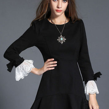 Black Ruffled Long Sleeve A-line Fishtail Mini Dress