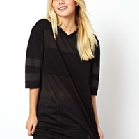 ASOS Top with V Neck and Open Mesh Panels