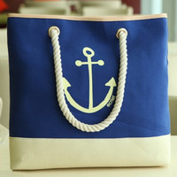 Shoulder Bags Navy Anchors and Sandy beach Bag for Women