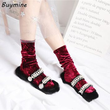 Sweet High School Socks Women Bling Velvet Stockings Warm Japan Vintage Velvet Women Stockings Autumn Winter Long Socks Boots 33