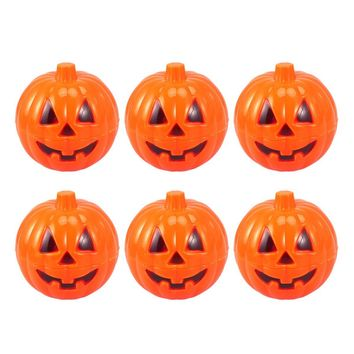 6pcs Plastic Pumpkin Shaped Storage Box Case Container Halloween Mini Gift Holder Props (Yellow)