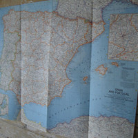 Vintage Spain an Portugal  Large Map 1965 Retro Find