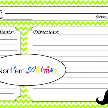4x6 Printable Mustache Recipe Card Set – hipster mustache graphic on a lime green chevron background – INSTANT DOWNLOAD