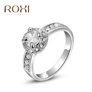 ROXI fashion jewelry ring diy22250 female romantic valentines day wedding jewelry 18 k gold plated zircon ring 2010236280