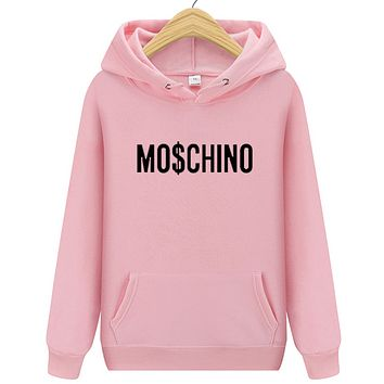 Moschino Autumn And Winter New Fashion Bust Letter Print Women Men Hooded Long Sleeve Sweater Pink