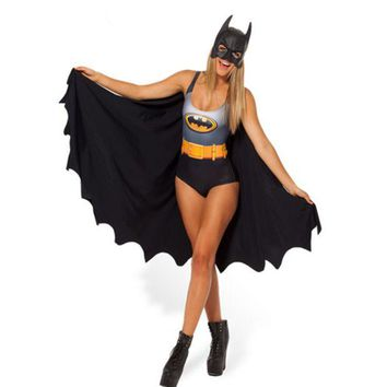 ONETOW Personality Fashion Backless Batman 3D Print Vest One Piece Swimwear Bikini Swimsuit