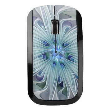 Floral Beauty Abstract Modern Blue Pastel Flower Wireless Mouse