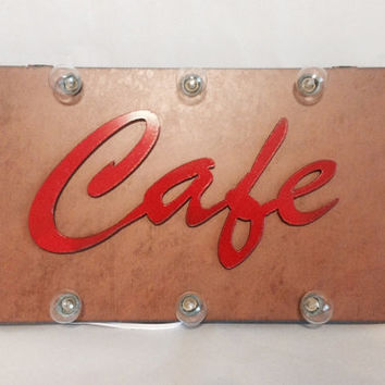 SALE - SHADOW BOX Marquee lighted sign with Cafe or Bake vintage inspired and made of Rusted Recycled Metal