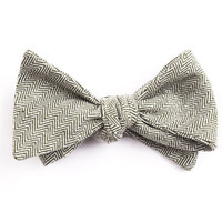 Green Herringbone Bow Tie
