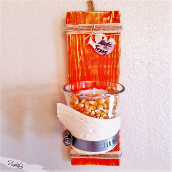 Farm House Candle Holder / Wooden Wall Sconce / Rustic Wood Wall Sconce / Fall Candle Holder / Thanksgiving Candle Holder