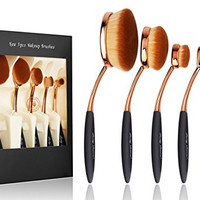 Party Queen Beauty New 5Pcs Elite Oval Tooth Design Makeup Brush Set For Applying Cosmetic Products Amazing Set