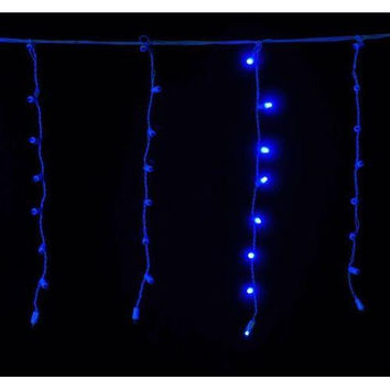 Standard Icicle 5MM Blue LED Light Set on White Wire