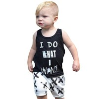 Two piece set Newborn Baby Boys set Black T-shirt Tops+White Cross Print Shorts Outfits Clothes clothing sets Summer Drop ship