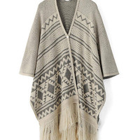 Gray Pattern Longline Cardigan with Tassel Details