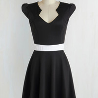Mid-length Cap Sleeves A-line The Story of Citrus Dress in Black