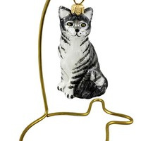 Joy to the World Collectibles 'Cat & Fish' Ornament & Stand - Metallic
