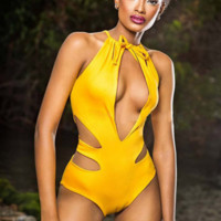 Pool party new lady swimsuit yellow sleeveless conjoined with padding a bathing suit