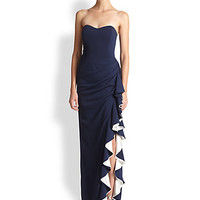 Strapless Contrast Ruffle Gown