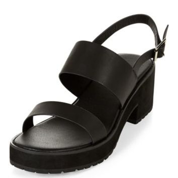 Wide Fit Black Chunky Strap Block Heel Sandals