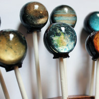 Original as seen on Cnet Planets solar system space ball style hard candy lollipop - 10 pc. - MADE TO ORDER