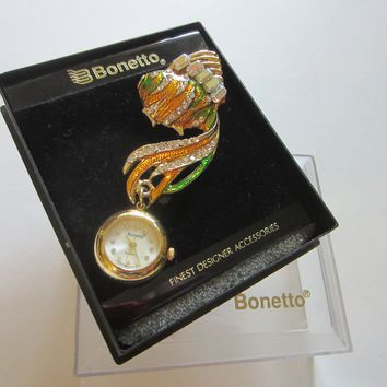 Bonetto Gold Fish Watch Brooch Enameled Swarovsky Crystals