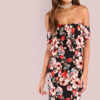 Floral Off Shoulder Frill Dress BLACK -SheIn(Sheinside)