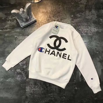 CHANEL x Champion Women Round Neck Top Sweater Pullover Sweatshirt