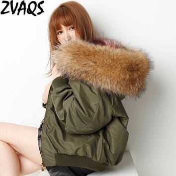ZVAQS Woman Army Green Jacket Large Raccoon Fur Collar Hooded Coat Parkas Short Casual Faux Fox Fur Lining Winter Jackets ST273