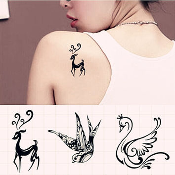 1 set of   Deer/Swallow/Swan  temporary tattoo fake tattoo body art small tattoo