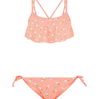 Teens Pink Ice Cream Print Flounce Bikini Set