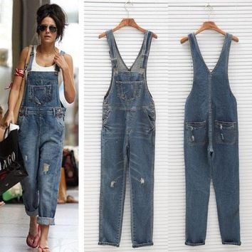 VONEHL5 Womens Ladies Baggy Denim Jeans Full Length Pinafore Dungaree Overall Jumpsuit