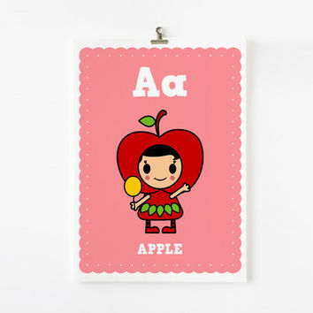 Kids wall art A is for Apple 8x10 art print by loopzart on Etsy