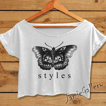 harry styles tattoo shirt one direction tshirt women crop top white OD09JG