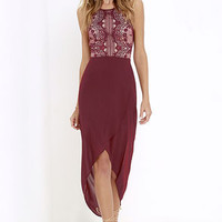 Happy As Can Be Wine Red Lace High-Low Dress